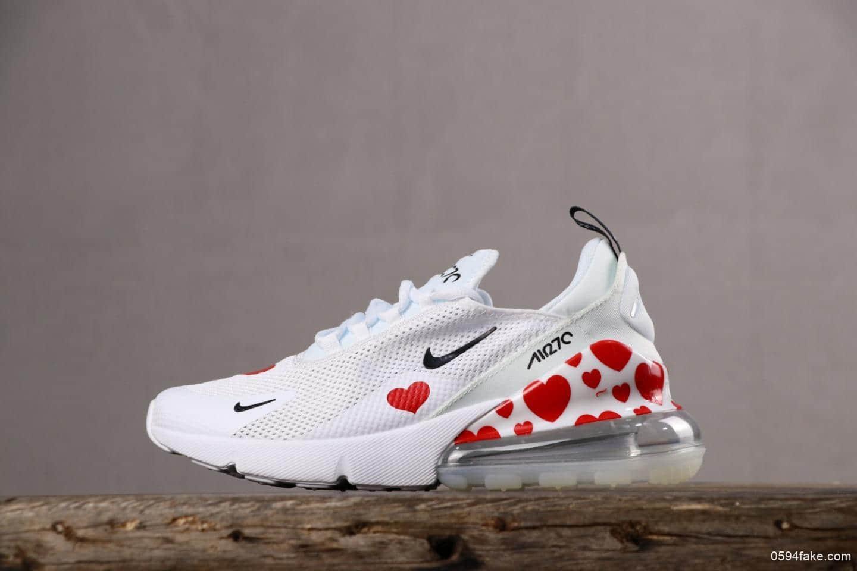 Nike Air Max 270耐克半掌白红爱心真标带半码 情人节限定 透气鞋面 货号:AR0499-