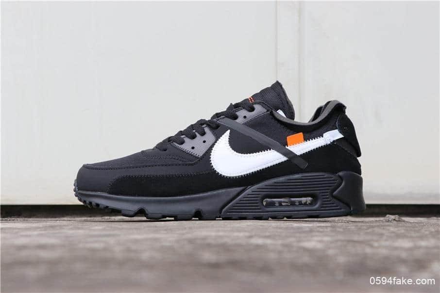 耐克联名款Off-White x Nike Air Max 90 2.0黑白公司级牛巴革鞋身搭配网格面材质 货号