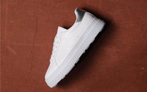 Prada Calfskin Platform Sneakers普拉达白漆银尾小白鞋莞产最最高端优质头层皮时尚单鞋