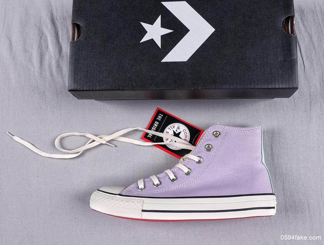 匡威Converse ALL STAR英国限定款彩色紫粉黄拼接正确硅蓝中底双鞋带时尚高帮休闲