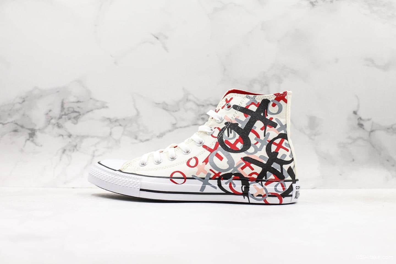 匡威Converse Chuck Taylor XXOO男生女生涂鸦联名款印花真标硫化高帮帆布鞋 货号: