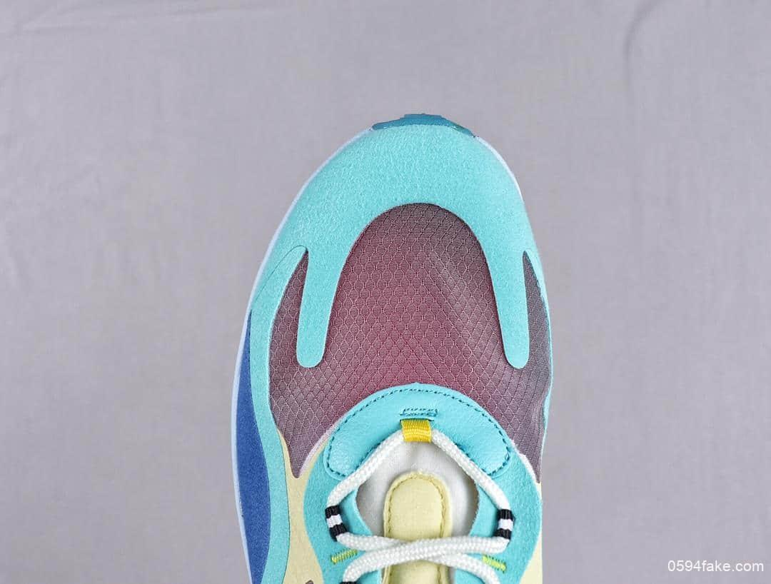 耐克Nike React Air Max 270公司级高桥盾网纱系列蓝绿机能半气垫跑步鞋 货号:AO4971-301