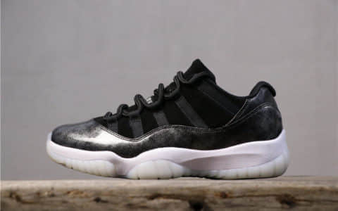 乔丹Air Jordan 11 Low Barons AJ11乔11低帮黑银纯原虎扑版本原装真碳纤维纯头层乔丹实战篮球鞋 货号:528895-010