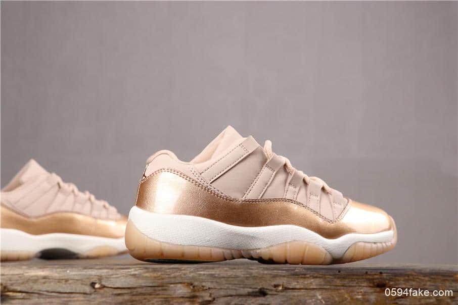 乔丹Air Jordan AJ11 Low Rose Gold玫瑰金AJ11女生专属配色低帮篮球鞋区别市面通货版本 货号:AH7860-105
