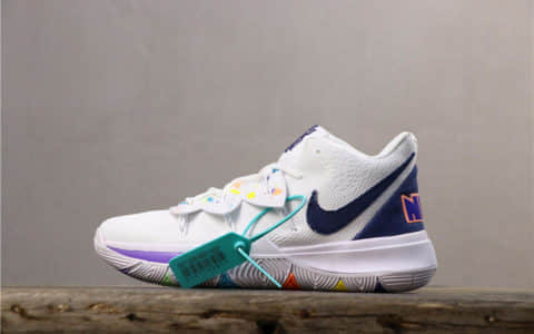 Nike Kyrie 5 Have A Nike Day炫彩白 耐克欧文5代公司级炫彩笑脸一体网布透气实战篮球鞋 货号:AO2919-101