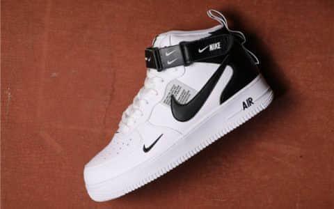 Nike Air Force 1 Mid 07 LV8高帮白黑双勾 耐克公司级带半码空军一号高帮内置气垫 货号:804609-103