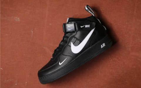 Nike Air Force 1 Mid 07 LV8高帮黑白双勾 耐克真标高品质空军一号经典休闲板鞋 货号:804609-403