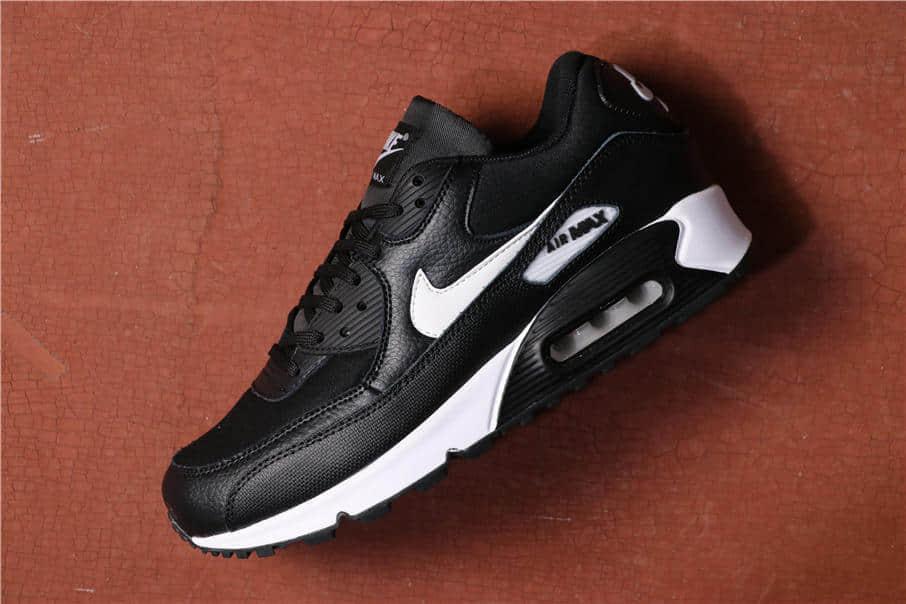 Nike Air Max 90 LEATHER黑白 耐克真标高品质原盒原标Max 90气垫鞋 货号:325213-060