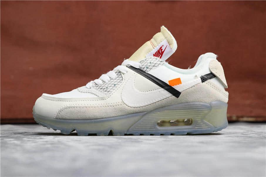 Nike Air Max 90 x Off -White全白 耐克联名OW公司级高品质复古气垫鞋 货号:AA7293-10