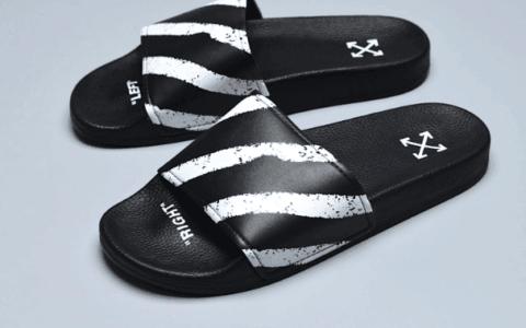 OFF-WHITE OFFCLAL SHOE BOX OW联名喷漆警戒线黑白条纹色拖鞋真标品质 货号:191607M234003
