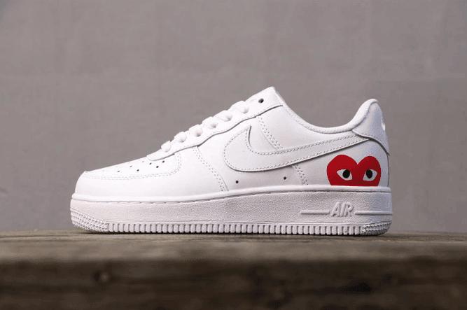 Nike Air Force 1 CDG白色爱心眼睛 耐克空军一
