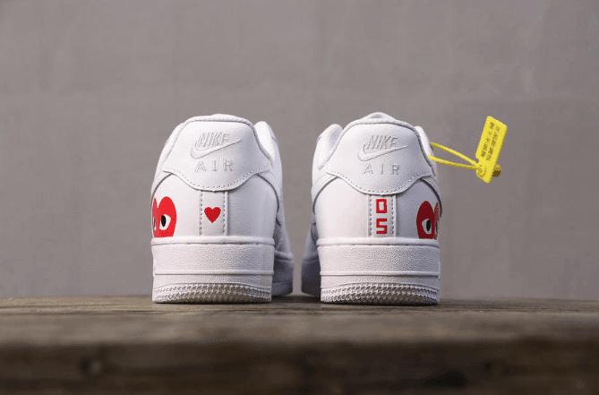 Nike Air Force 1 CDG白色爱心眼睛 耐克空军一号真标带半码情人节限定联名川久保玲 货号:315115-112