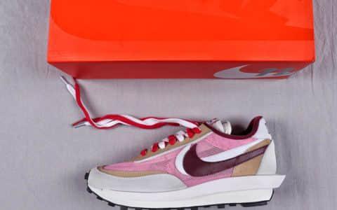耐克SACAI x NIKE LDV Waffle华夫系列走秀款纯原版本网纱皮面拼接双勾Swoosh跑步鞋 货号:BV0073-500