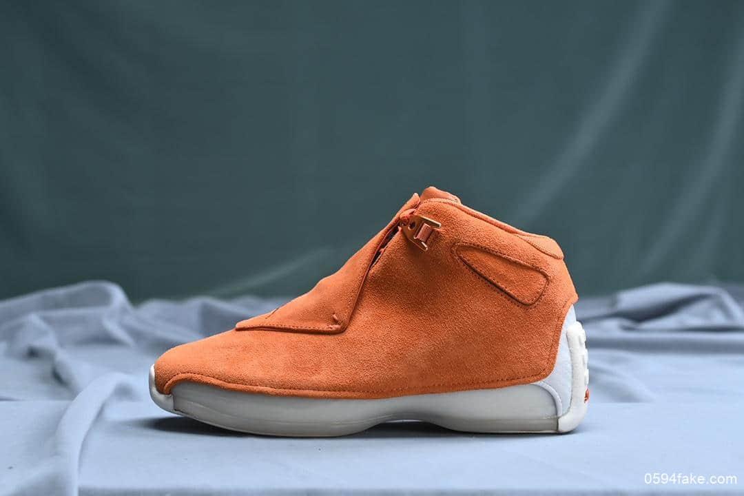乔丹Air Jordan 18 Orange Suede渠道纯原版本AJ18原厂纯色头层麂皮包裹双层Zoom+双层碳板亮眼鞋垫搭载碳板AJ18实战篮球鞋 货号:AA2494-801