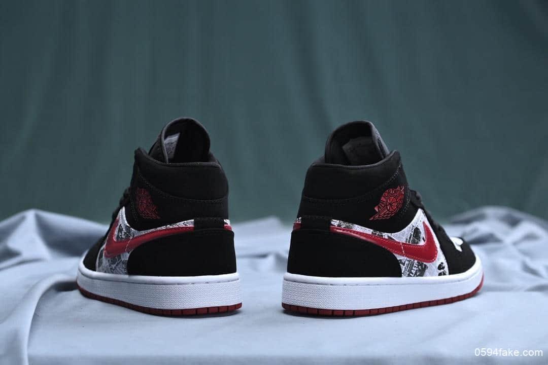 乔丹Air Jordan 1 Mid纯原版本乔老爷涂鸦鞋面AJ1中帮红色钩子小黑红熊猫脚实战篮球鞋 货号:852542-061