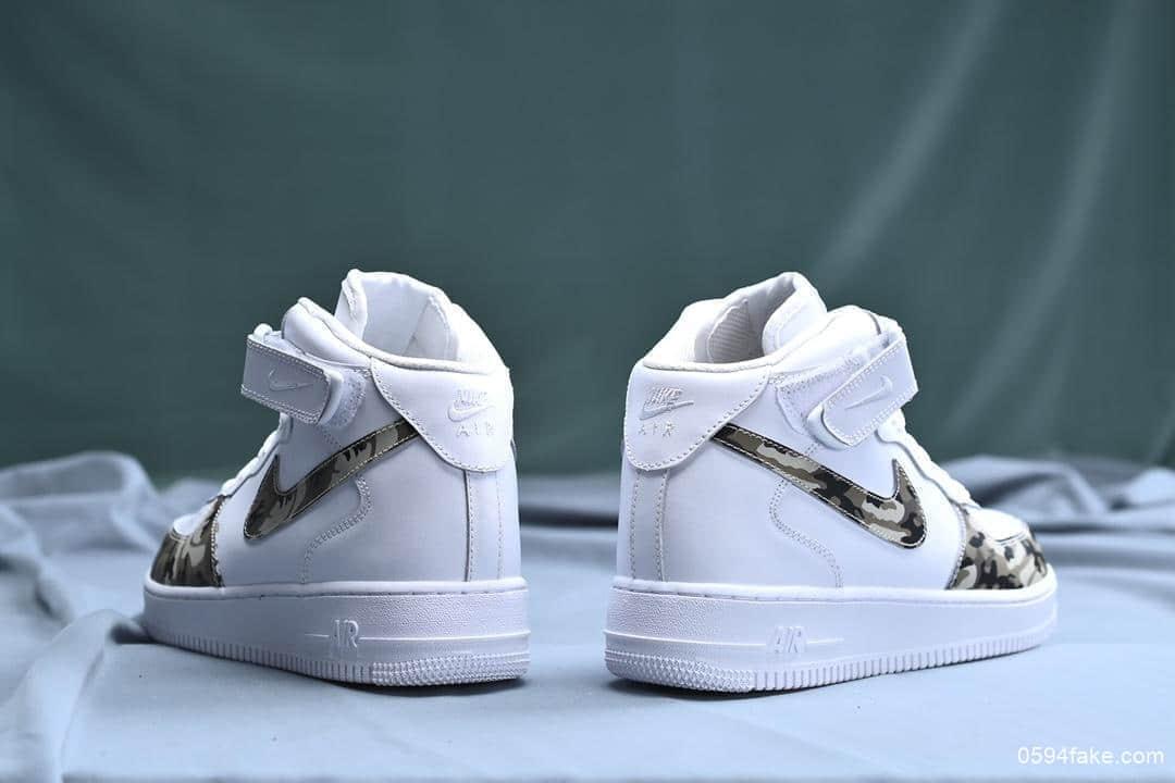耐克Nike Air Force 1 Mid LV8 CAMO纯原版本空军一号经典中帮百搭休闲运动板鞋皮黑白绿迷彩纹 货号:19304-003