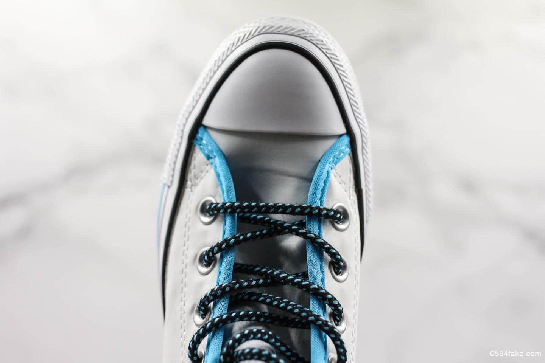 匡威Converse Chuck Taylor AII Star蓝白彩色字母涂鸦帆布鞋公司级带半码 时尚潮人必备单品 货号:164091C