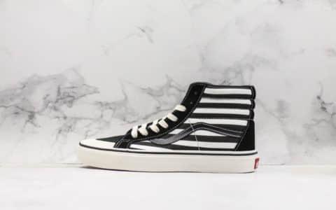 万斯Vans Style 36 Decon SF鲜美子列麂皮黑白条纹高帮真标带半码 海外限定款 货号:VN0A3ZCJXMU