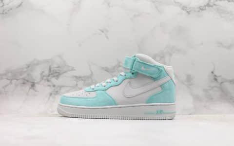 耐克Nike Air Force 1 mid 19S Tiffany纯原版本中帮蒂芙尼绿翻毛皮鞋面区别市面通货版本 货号:596728-301