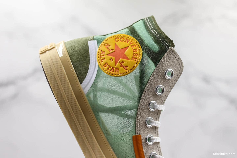 匡威OFF-GREEN x Converse Chuck Taylor All Star 1970s公司级联名款进口透明绿色网纱高帮结构绿色原厂定制独家配色 货号:165603C