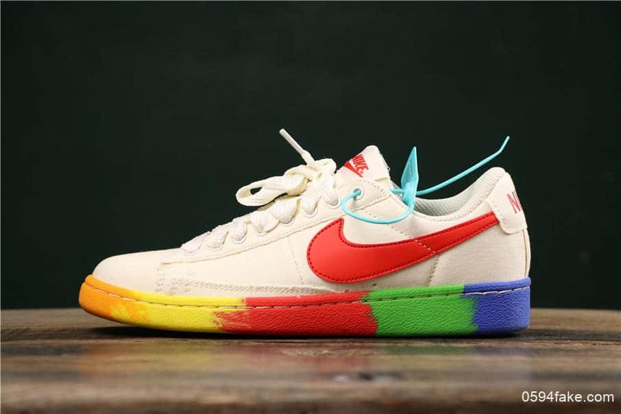 耐克Nike Blazer Bruin Low QS彩虹底米白纯原版本内置Zoom气垫低帮开拓者休闲板鞋 货号:AA1057-106