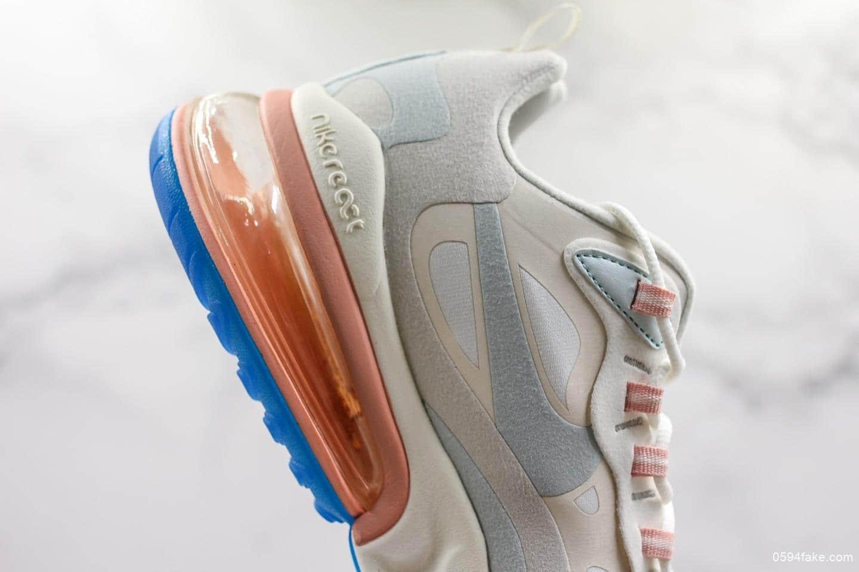 耐克Nike Air Max 270 React公司级小气垫运动跑鞋正品氮气缓震大底原标原盒区别市面通货版本 货号:AO4971-100