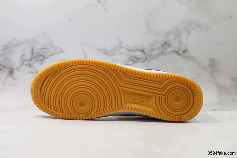 耐克Nike Air Force 1 '07 Low White Gum Blue Void公司级版本海外限定配色白红内置全掌air sole气垫硬质牛剖层移膜革 货号:CI0057-101