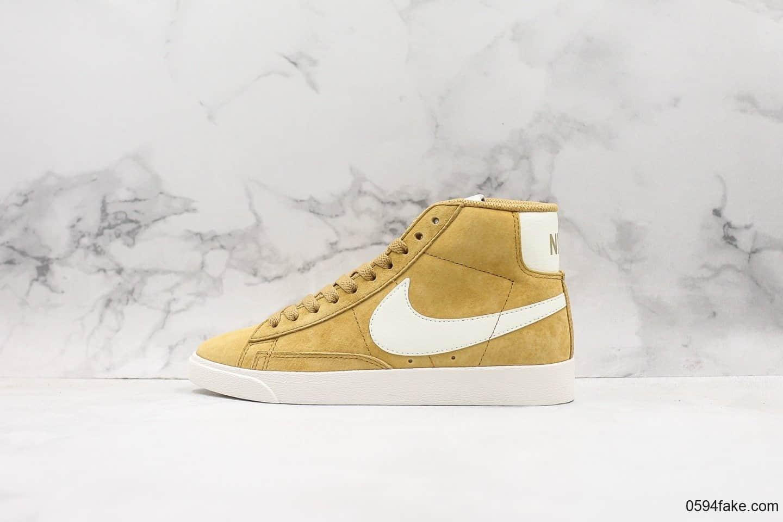 耐克Nike Blazer Mid Vintage Suede开拓者中帮休闲板鞋姜黄色公司级带半码 原版皮料精