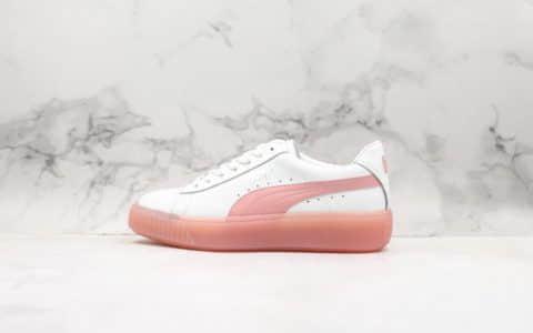 彪马Puma Basket Platform Velour Suede蕾哈娜二代厚底松糕鞋果冻休闲板鞋白粉色纯原优质头层牛皮革 货号:372934