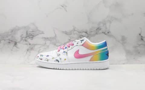 耐克Nike AIR JORDAN 1 LOW AJ1 GS 海外定制Custom版本阳光彩虹独角兽后跟渐变设计效果