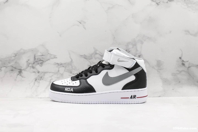 耐克Nike Air Force 1 Mid '07 White Black Grey纯原版本空军一号中帮经典百搭休闲