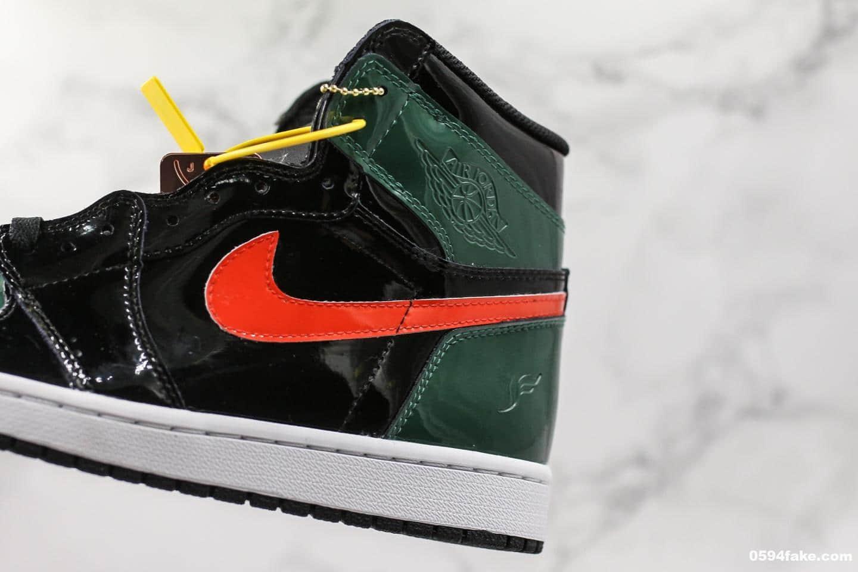 乔丹Air Jordan 1 x SoleFly F&F纯原版本乔丹1代大宝剑篮球鞋黑绿漆皮鸳鸯限量联名款全新升级版鞋楦一比一开版完美还原 货号:AV3905-038