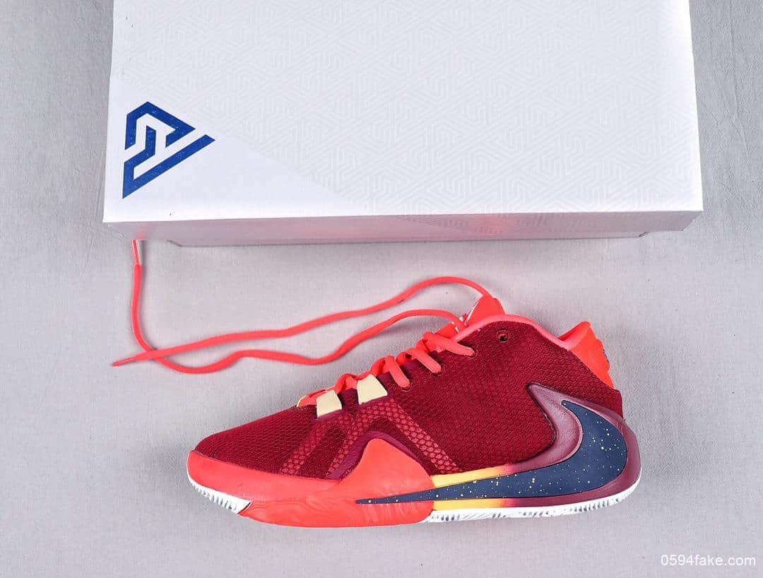 耐克Nike Zoom Freak 1 University Red一代字母哥签名双气垫低帮休闲运动篮球鞋酒红桔红黑黄大倒钩 货号:BQ5422-600