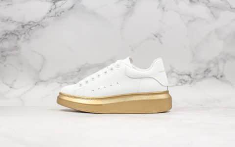 亚历山大Alexander Mcqueen麦昆小白鞋白面金底纯原头层拉帕牛皮+头层绵羊皮MQ原版一比一鞋底
