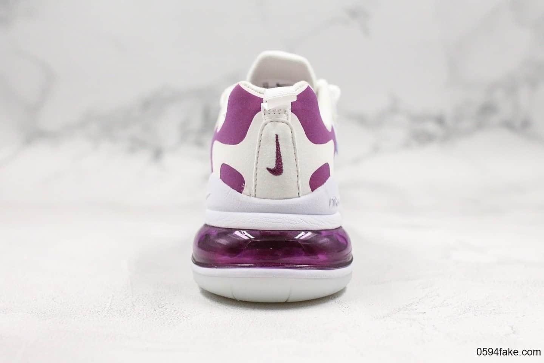 耐克Nike Air Max 270 React 机能气垫跑步鞋黑粉白公司级带半码原盒原标高频网纱 货号:AO6174-101