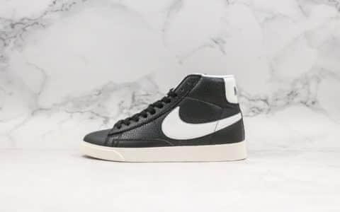 耐克Nike Blazer Mid Vintage Suede开拓者中帮板鞋黑白真标带半码原版皮料细节做工