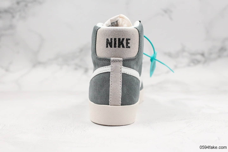 耐克Nike Blazer Mid '77 VNTG WE纯原版本高帮开拓者加绒款浅灰色休闲板鞋 货号:CI1167-001