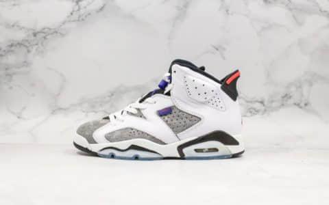 乔丹Air Jordan AJ6 Flint纯原版本AJ6燧石灰白紫外线全新软牛皮+麂皮打造实战篮球鞋 货号:CI3125-100