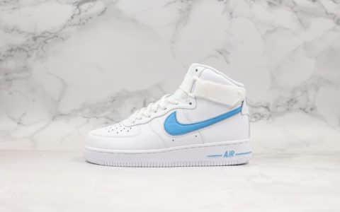 耐克Nike Air Force 1 High '07 3'White blue纯原版本高帮空军一号白蓝硬质荔枝纹移模革材质原楦头原纸板打造 货号:AT4141-102