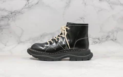 麦昆Mcqueen东莞纯原版本高帮马丁靴古力娜扎同款老爹鞋原版一比一开发正确TPU大底进口羊皮内里