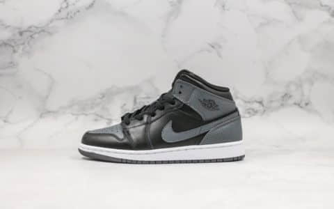 乔丹Air Jordan 1 mid实战篮球鞋中帮AJ1影子灰纯原带半码原厂渠道全新批次定制皮料 货号:554725-041