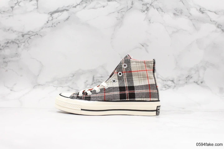匡威Converse 70s Plaid高帮帆布鞋1970s苏格兰格子公司级优质法兰绒定制格纹丝绸内