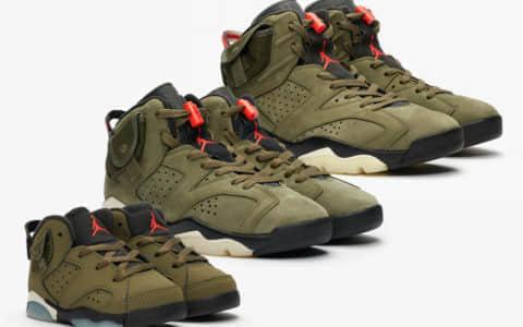 "Travis Scott x Air Jordan 6"" Medium Olive""将于10月12日发售!全家族尺码都有!"