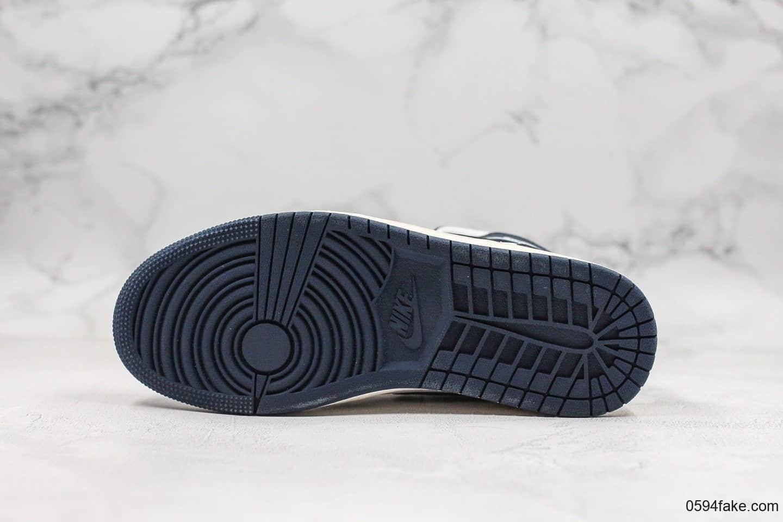 乔丹Air Jordan 1 Mid纯原版本中帮黑耀石AJ1原盒原标原档案数据开发鞋面全头层荔枝纹 货号:554724-174