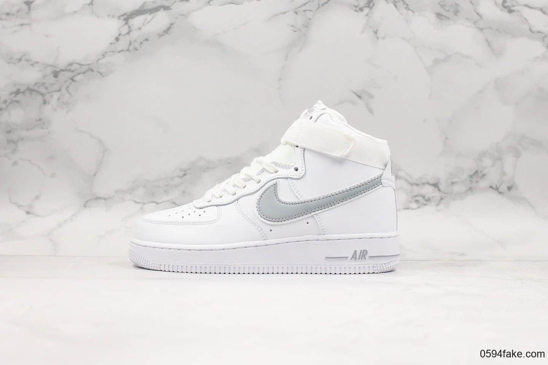 耐克Nike Air force1 07'V8海外发售版白银灰配色纯原版本高帮空军一号新版