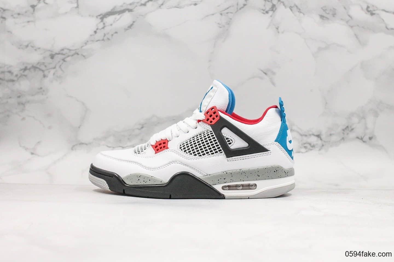 乔丹Air Jordan 4 what the纯原版本AJ4乔丹4代篮球鞋白红蓝水泥鸳鸯配色 货号:CI1184-146