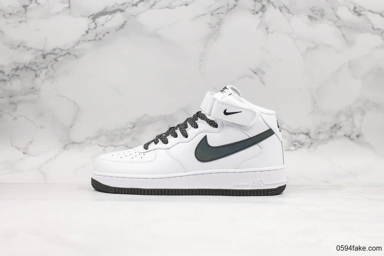 耐克Nike Air Force 1 AF1 MID纯原版本空军一号UN2.0全白满天星中帮板鞋内置全掌sol