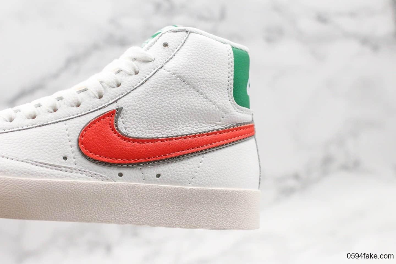 """耐克Nike Blazer Mid 1977 Vintage""""Hawkins High""""怪奇物语联名开拓者限定配色白绿红休闲板鞋公司级带半码 加绒内里全头层皮料打造 货号:CJ6101-100"""