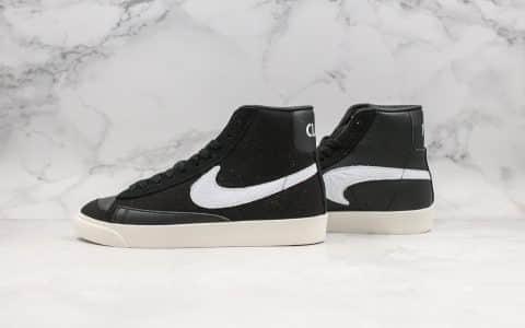 耐克Nike Blazer Mid Class 1977 x Slam Jam纯原版本高帮开拓者联名款经典开拓者高帮百搭休闲运动板鞋白灰黑帆布拼接鸳鸯钩设计 货号:CD8233-001