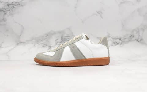马吉拉德Maison Margiela纯原版本训练小白鞋MM6网红爆款全头层小羊皮搭配翻毛皮完美拼接